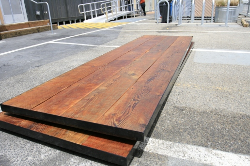 The finished boards at the Yard. They're going to rest on 2 wine barrels.